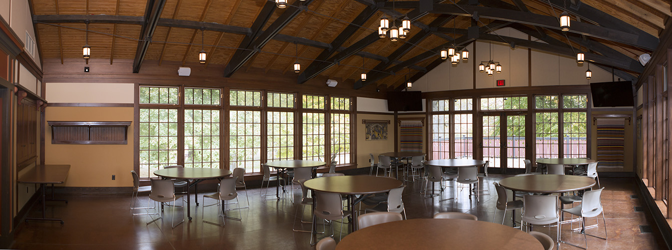 panoramic photo of fairview lodge interior - City of Story City